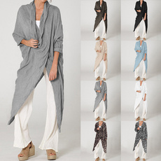 Plus size top, cottonlinen, Shirt, Sleeve