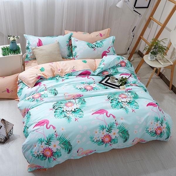 Blues, flamingo, duvet, Bedding