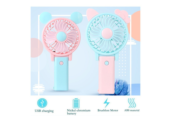 Color : Blue HAIMEI-WU Handheld Mini Fan Charging Cartoon Small Fan Night Lightsome Nomadic Phone Bracket USB Personal Fans Mini Electric Fan