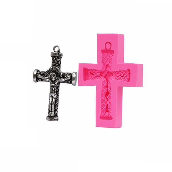 jesusonacrosssiliconemold, Sculpture, crucifixmold, bakingdecorationmould