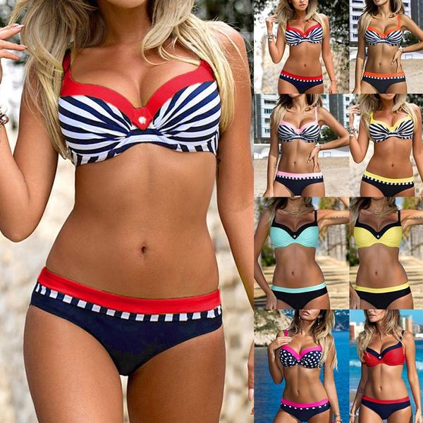 bathing suit, Fashion, Patchwork, padded bikini
