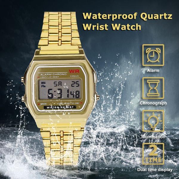 Steel, leddigitalwatch, digitalalarmstopwatch, unisex