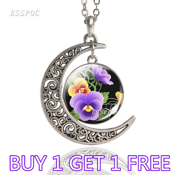 Beautiful, crescentnecklace, pansyflowernecklace, Jewelry
