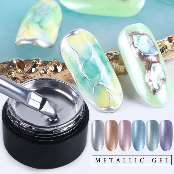 6ml Mirror Metallic Glitter Gel Nail Polish Silver Rose 3d Liner Spider Draw Soak Off Uv Nail Gel Lacquers Manicure Silver Metal Effect Soak Off Uv Gel Nail Polish Gold Nail Gel