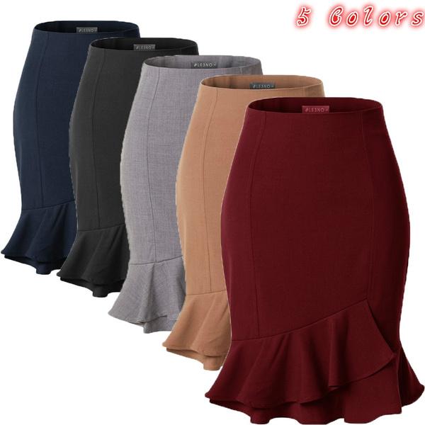 fishtailskirt, Summer, Plus Size, Elastic