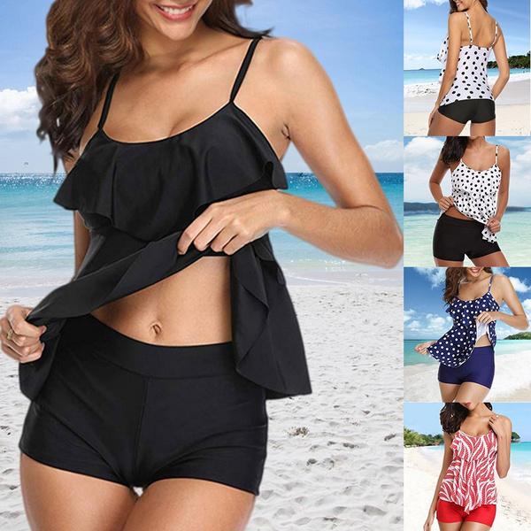 summerwear, ruffle, bikini set, tankini bathing suits
