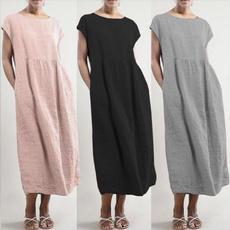Summer, Shift Dress, Sleeve, cottonlinendres