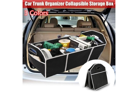 MOSTOP Multifunctional Collapsible Storage Box Portable Car Trunk Organizer Container Foldable PP Storage Case with Waterproof Bag for Car Vehicle Home Camping Black
