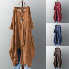 Women, plaid, long sleeve dress, Sleeve