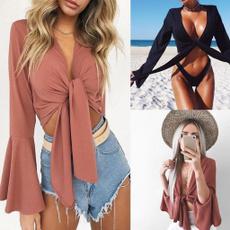 bowknot, off shoulder top, Fashion, crop top