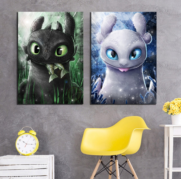2 Piece Canvas Cartoon Pictures Cartoon How To Train Your Dragon The Hidden World Movie Poster Canvas Art Paintings For Home Decor Wish