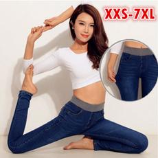 womens jeans, elastic waist, hosendamen, high waist