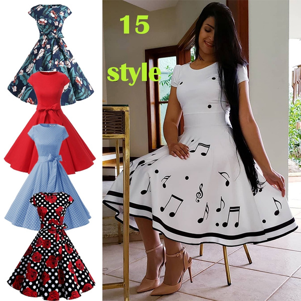 Dermanony Womens 50s Vintage Dress Winter Long Sleeve Christmas Musical Print Flare Sleeve Dress A-Line Party Dress