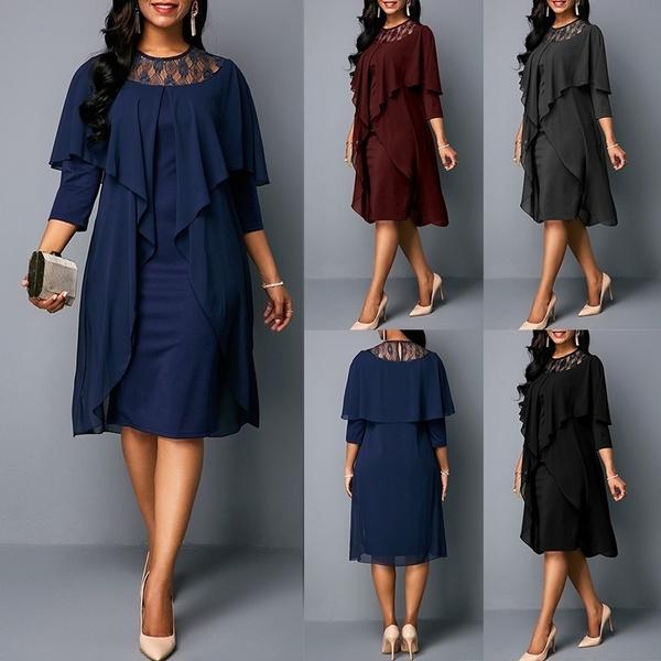 Blues, party, Plus Size, office dress