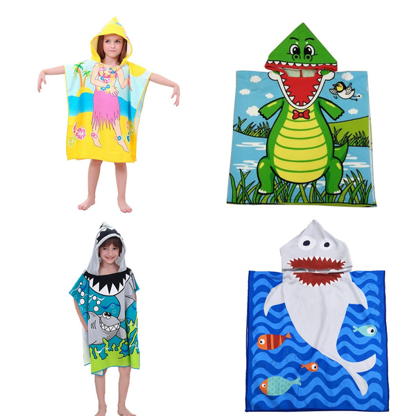 Ultra Breathable and Soft for All Seasons Octopus Bath Pool Swim Poncho Cover-ups Cape Mulfei Kids Cartoon Hooded Beach Bath Towel for Age 1-7 Years 24 x 48