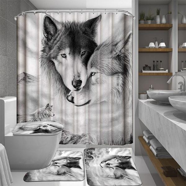Decor, Bathroom Accessories, wolfshowercurtain, Waterproof