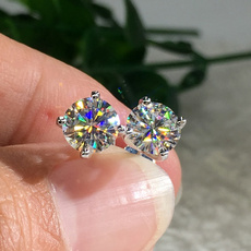 DIAMOND, moissanite earrings, gold, Stud Earring