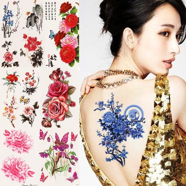 tattoo, fake tattoo, Flowers, Waterproof