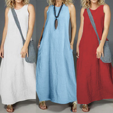Summer, cottonlinen, solidcolordres, women_maxi_dress