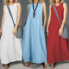 Summer, cottonlinen, solidcolordres, women_maxi_dress