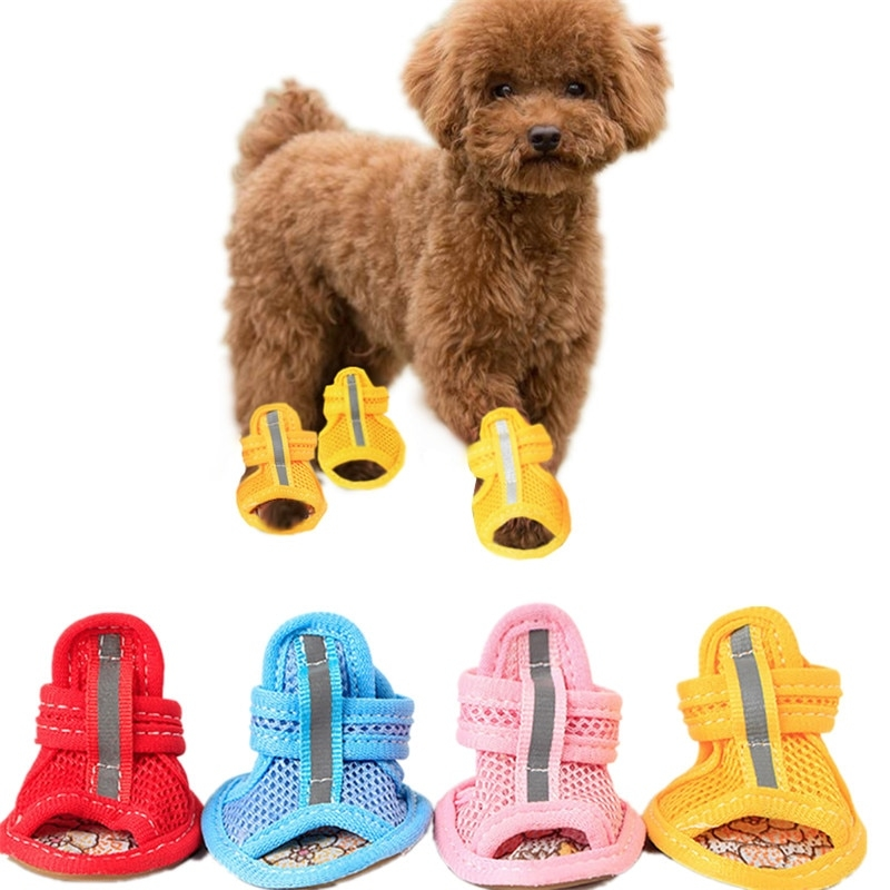 URBEST Breathable Summer Autumm Spring Dog Shoes Sandals with Durable Rubber Sole PU Leather Fashion Anti-Slip Paw Protector for Small Dogs