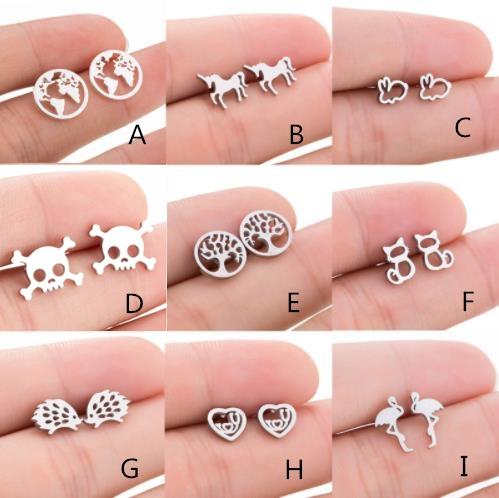 Stud, Fashion, stainless steel earrings, Animal