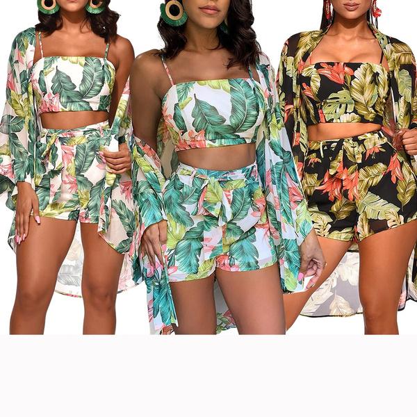 flowerprint, Shorts, crop top, Sleeve