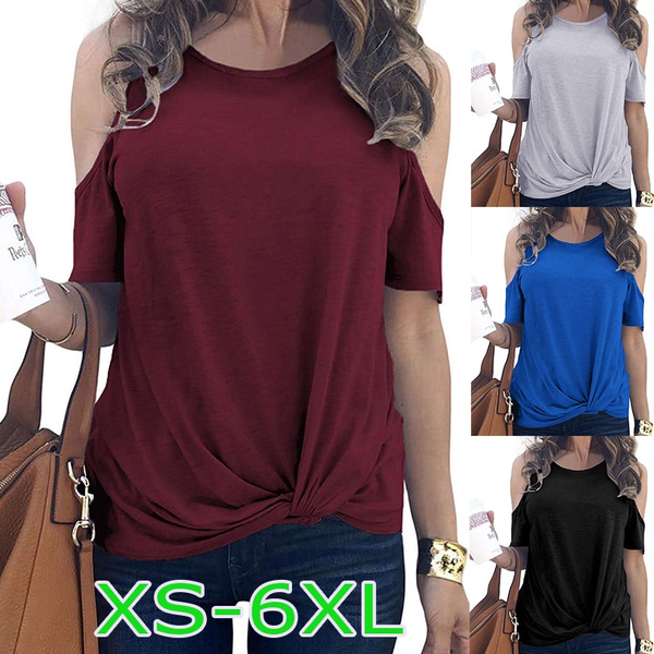 Women Off Shoulder T Shirt Casual Solid Color Blouse O Neck Short Sleeve Tops