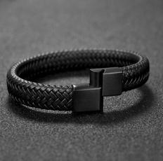 Charm Bracelet, black bracelet, bikerbracelet, Fashion
