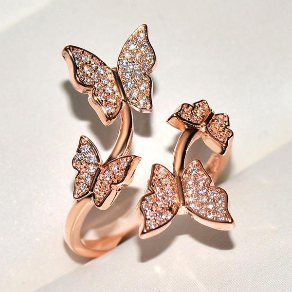 butterfly, DIAMOND, wedding ring, Romantic