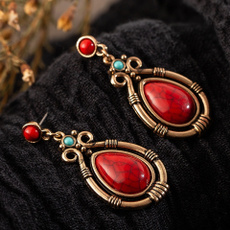 Turquoise, naturestone, Dangle Earring, artisancoralearring
