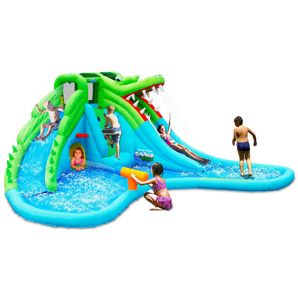 Crocodile Inflatable Water Slide Park Dual Slides Climbing Wall /& Splash Pool