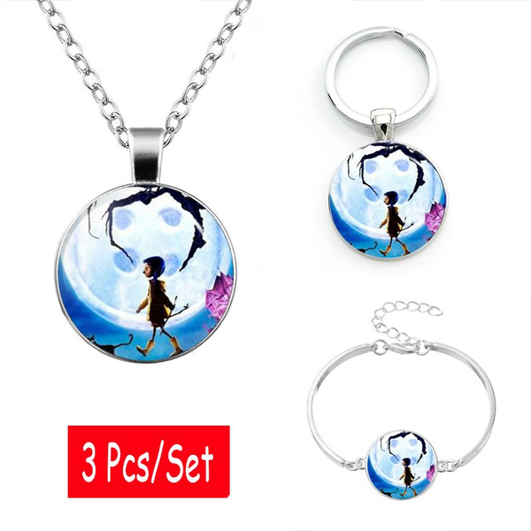 Coraline Photo Jewelry 3 Pcs Set Pendant Necklace Keyring Bracelet Tibet Silver Cabochon Glass Jewelry Dome Pendant Friendship Gift For Man Woman Wish