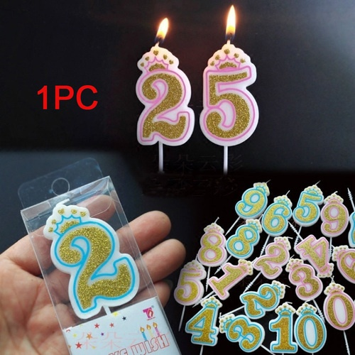 DIY Gold Number 0-9 Happy Birthday Cake Candles Topper Decoration Party Suppl/_US