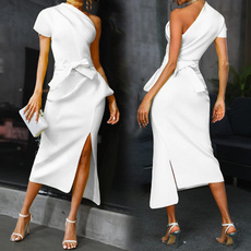 party, Ladies Fashion, Irregular, one-shoulder
