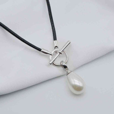 sexysupplie, womensleathernecklace, pearls, waterdroppearl