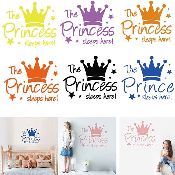 Pink Crown Stars Wall Stickers The Princess Sleep Here Letter Wall Decal 43x36cm