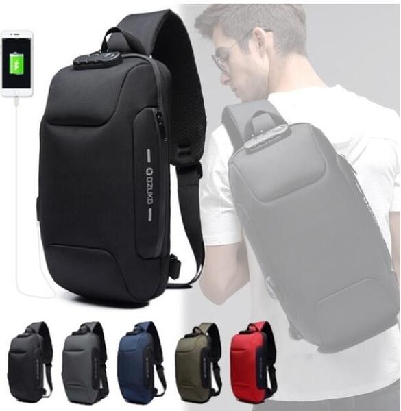 Multi-function Lock Design Bag Men's Shoulder Bag Anti-theft USB Charging  Strap Messenger Bag Men's Chest Bag Fashion Mobile Phone Bag JY-9223   Wish