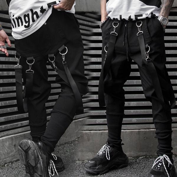 Men Black Harem Pants 2019 Spring Hip Hop Joggers Multi Pocket Ribbons Man Sweatpants Streetwear Night Show Casual Mens Pants Pantalones De Hombre Jogginghosen Wish