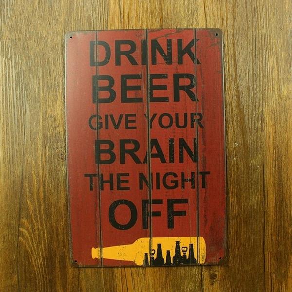 Home & Living, Metal, Beer, wallsign