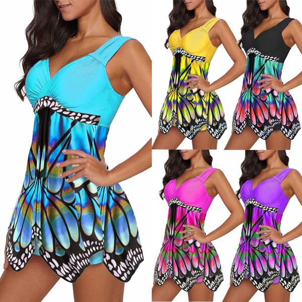 butterflyprint, Summer, Plus Size, SwimwearWomen