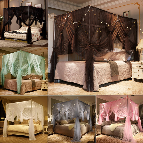 4 Corner Princess Bed Curtain Canopy, Queen Size Canopy Bed With Curtains