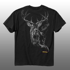 smokedeer, topsamptshirt, Cotton T Shirt, Sleeve