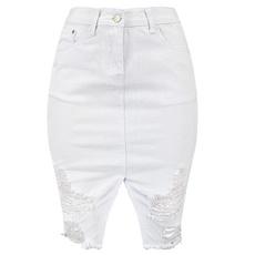Mini, ripped, pencil skirt, whitejean