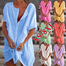 Summer, Plus Size, Deep V-Neck, Dress