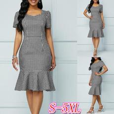 short sleeve dress, office dress, Plaid Dress, Sleeve