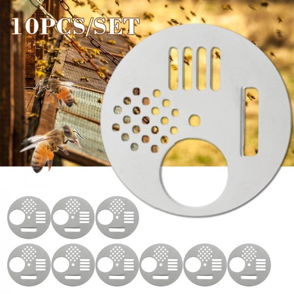 Stainless Steel Bee Entrance Discs Door for Beehive Nuc Box Bee Nest Flexzion Bee Hive Entrance Gate Beekeeping Equipment Beehive Tool for Beekeepers 12 pcs