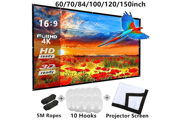 1PC 60-120 inch HD Projector Screen 16:9 Home Cinema Projector Portable Screen