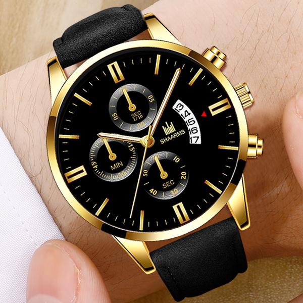 Men Business Watch, leather, Watch, casualquartzwatch