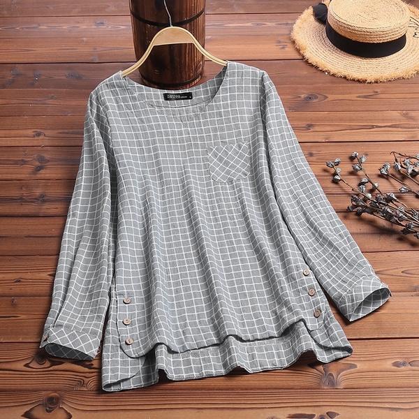 blouse, Women, Plus Size, Spring/Autumn